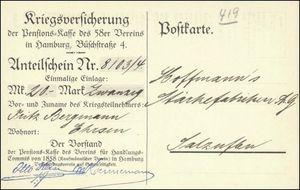 Pensions-Kasse des 58er Vereins - Kriegsversicherung (VU15)